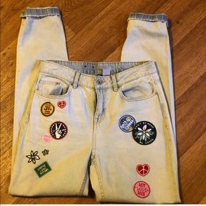 Distressed Straight Leg Jeans with Vintage Patches